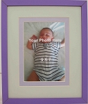 Wall Mount Purple and Green Photo Frame double matted for 5x7 photo