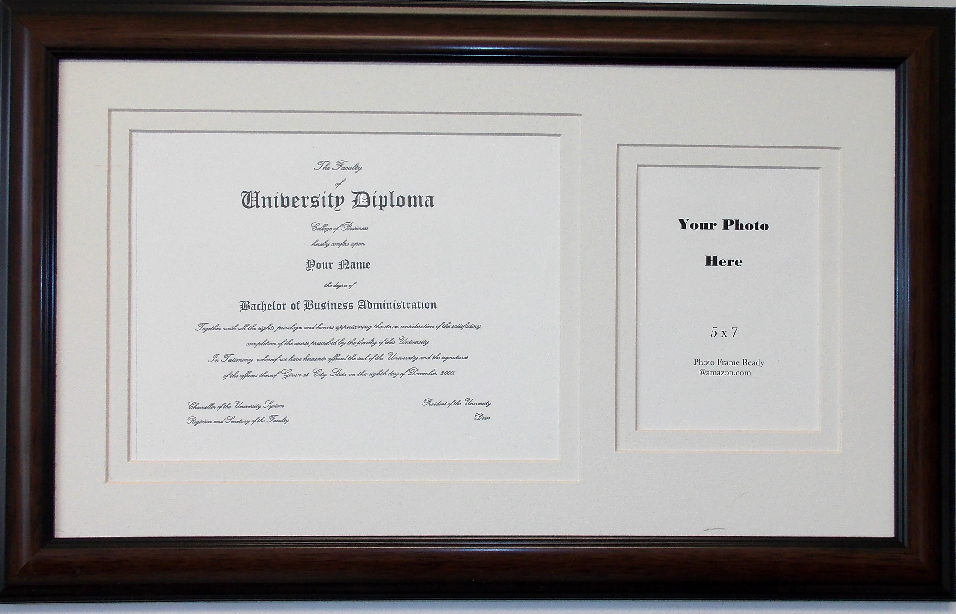 Graduation University Diploma Certificate Photo Frame Matted Holds 8-1/2 X  11 Certificate with 5 X 7 Photo Double White Mats