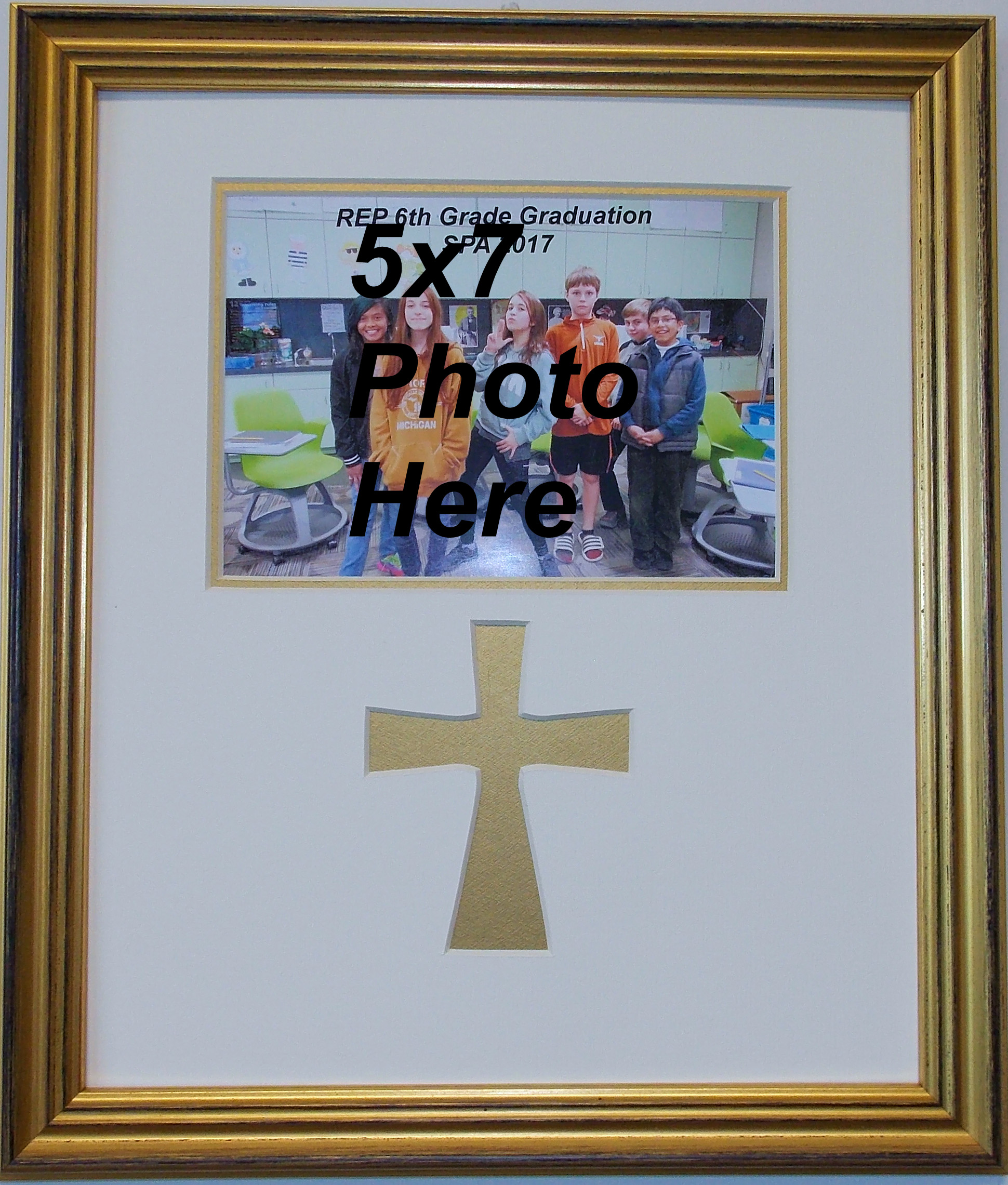Christian Gold Wood Wall Mount Photo Frame with cross and 5x7 photo ...