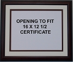 Graduation Diploma College or University 16x12-1/2 Certificate Document Double Mat Mahogony Frame