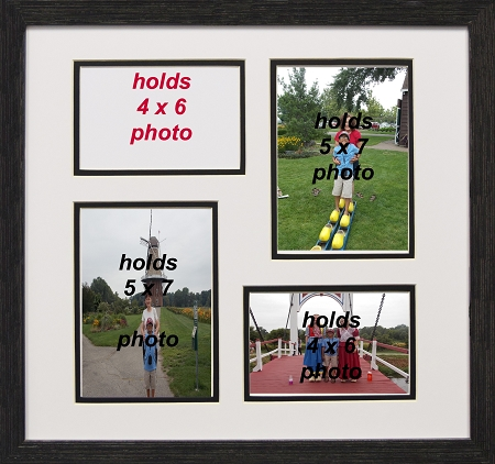 Collage Photo Frame 4-opening 4x6 with 5x7 Black and White Picture Frame