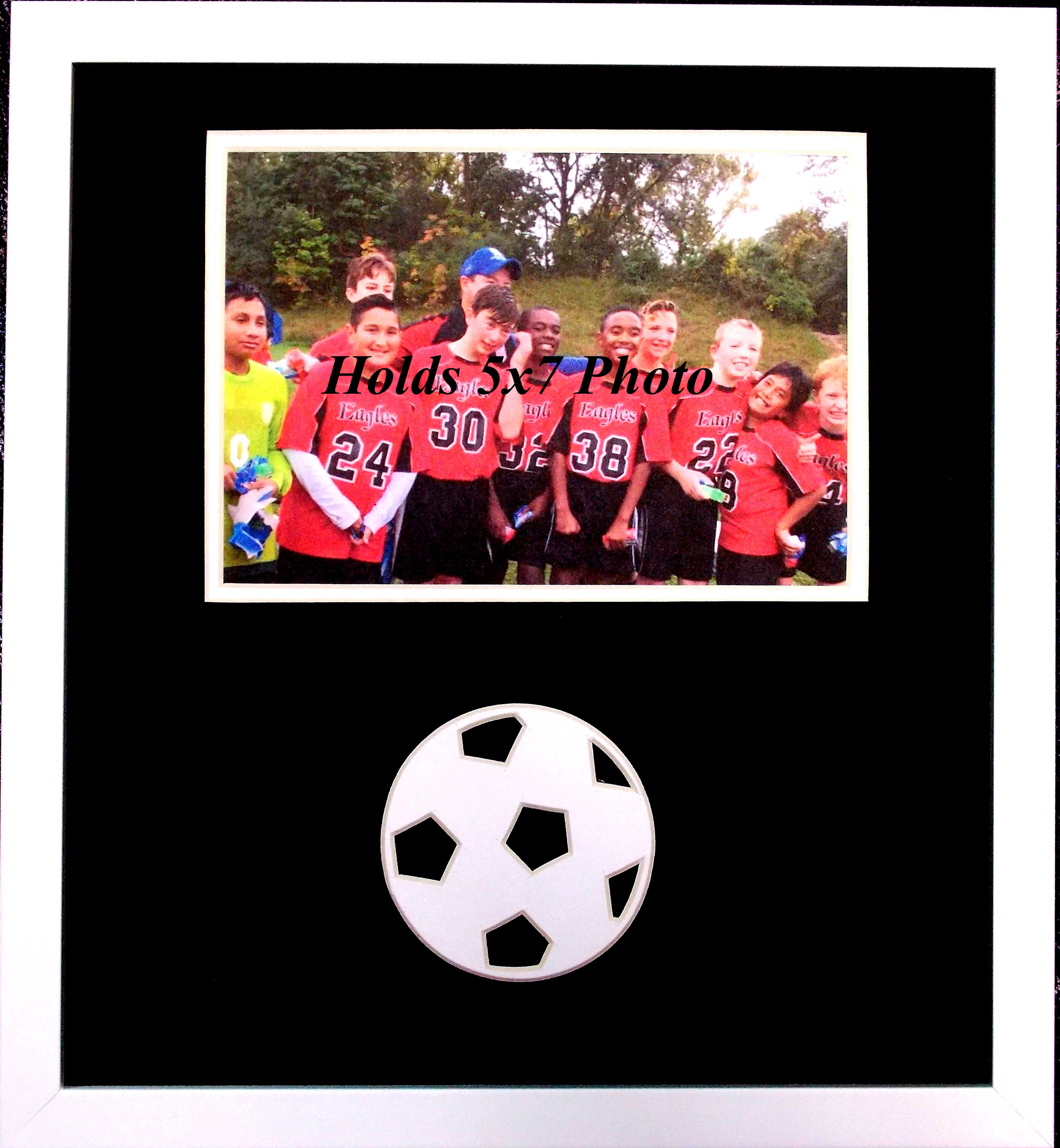 Wall mount picture frame black and white soccer ball wood frame wall mount picture frame black and white soccer ball wood frame for 5x7 photo novelty photo frame jeuxipadfo Image collections