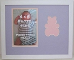 Table top Childrens Pink & Purple Teddy Bear Photo Frame 8x10 Hold 4x6 Photo White Wood Frame