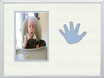Childrens Blue Handprint Infant Boy Photo Frame 8x10 Hold 4x6 Photo
