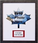 Canadian Maple Leaf 150 Year Celebration Wall Mount Red and White 8x10 Picture Frame with name plaque Black moulding