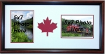 Canadian Maple Leaf 150 Year Celebration Wall Mount Red and White Double 5x7 Photo Picture Frame Cherry Frame