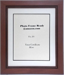 Wall Mount Photo Frame with Brown Rope Edged Wood Moulding Holds 8x10 Photo Certificate or Document