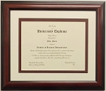 Graduation Diploma College or University 8-1/2 X11 Certificate Document frame-Mahogony Frame