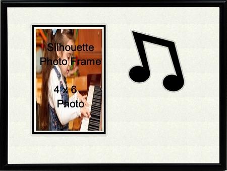 Music Photo Frame 8x10 Eighth Note Holds 4x6 Photo Black & White
