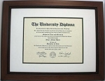 Graduation Diploma College or University 8.5x11 Certificate Document frame