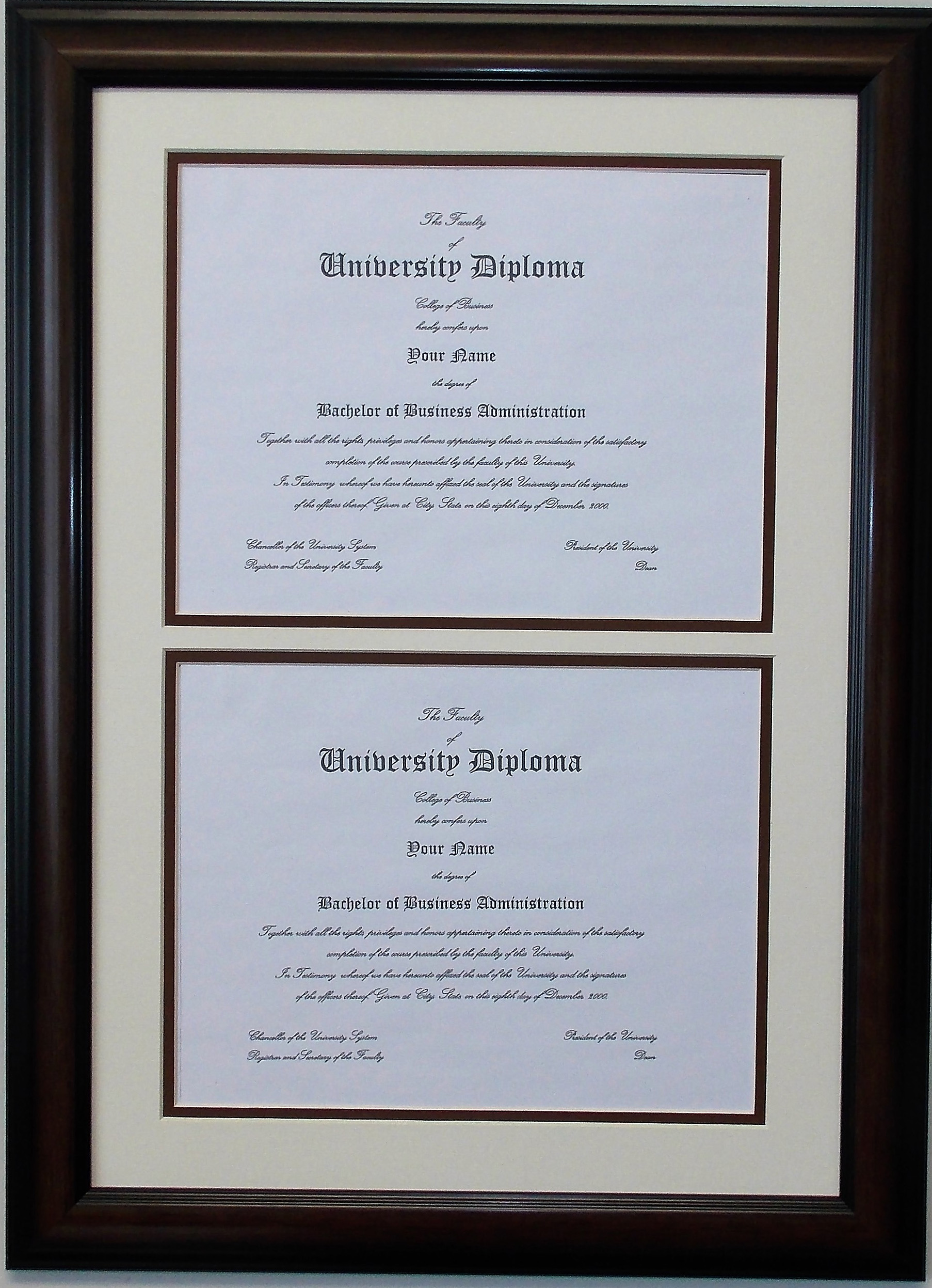 Double Diploma Document Certificate Openings Wood Picture Frame for ...