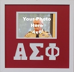 Alpha Sigma Phi  Friendship Frame holds 4x6 photo wall mount red and white frame