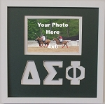 Delta Sigma Phi Friendship Frame holds 4x6 photo wall mount green and white frame