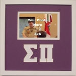 Sigma Pi Friendship Frame holds 4x6 photo wall mount purple and white frame