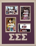 Sigma Sigma Sigma Sorority 16x20 collage photo mat and wall mount frame for 5x7 and 4x6 photos