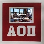 Alpha Omicron Pi Sorority Friendship Frame holds 4x6 photo wall mount red and white frame