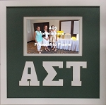Alpha Sigma Tau Sorority Friendship Frame holds 4x6 photo wall mount green and white frame