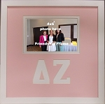 Delta Zeta Sorority Friendship Frame holds 4x6 photo wall mount pink and white frame