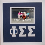 Phi Sigma Sigma Sorority Friendship Frame holds 4x6 photo wall mount blue and white frame
