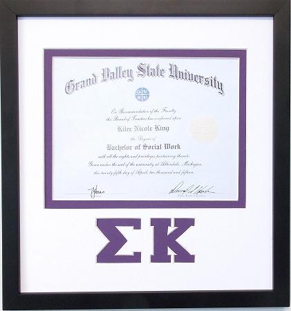 Sigma Kappa diploma certificate document frame black