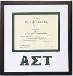 Alpha Sigma Tau diploma document certificate frame black