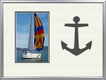 Table Top Childrens Nautical Grey Anchor 8x10 Photo Frame Holds 4x6 Photo
