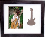 Wall Mount Music Photo Frame Brown Guitar 9-1/2 X 11 Holds 5x7 Photo Creme and Brown Mats