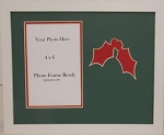 Christmas Holly Holiday Christian Photo Frame holds 4x6 photo overall size 8x10