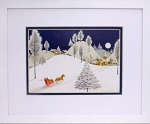 Christmas Winter Sleigh Ride print matted and framed 8 X 10