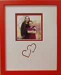 Sweet heart Red tabletop wood photo picture frame 8x10 with 4x4 photo opening