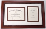 Graduation High School Diploma Certificate 6x8 with 5x7 Photo Frame Brown Frame Double mat