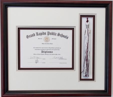 Graduation High School Diploma 6X8 Certificate Triple Matted Brown ...