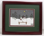 Mr & Mrs Snowman Holiday Framed Decorator Print 8x10