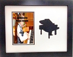 Wall Mount Music Photo Frame 10x13 Black Piano Holds 4x6 Photo Black & White Mats