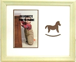 Wall Mount Childrens Brown Rocking Horse Infant Nursery Photo Frame 8x10 Hold 4x6 Photo