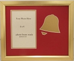 Christmas Gold Holiday Bell Christian Photo Frame Holds 4x6 Photo Overall Size 8x10