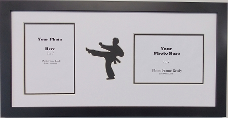wall hanging karate martial arts double photo frame holds two 5x7 photos black frame