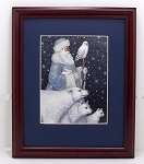 St Nicholas & Polar Bear Holiday Framed Decorator Print 8 x 10