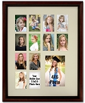 Cherry Mahogany Collage Multiple Opening 12 2x3 Wallet Photo Openings with 4x6 Photograph School Photo Years K-12 Graduation Wall Mounted Picture Frame