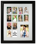 Black and White Collage Multiple Opening 12 2x3 Wallet Photo Openings with 4x6 Photograph School Photo Years K-12 Graduation Wall mounted Picture Frame