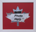 Canadian Maple Leaf 150 Year Celebration Wall Mount Red and White 8x10 Picture Frame White wood frame
