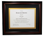Graduation Diploma College or University 8-1/2 X11 Certificate Document frame with Black and Gold mat-Mahogony Frame