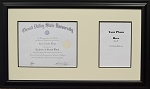 Graduation University Diploma Certificate Photo Frame Creme and Black Mats Holds 9x7 Certificate with 5x7 Photo Opening Black Wood Frame