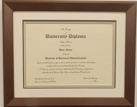 Graduation Diploma 8-1/2 X11 Certificate Triple Matted Bronze Frame