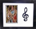 Wall Mount Music Photo Frame 9.5 X 11.5 with Black Treble Clef Holds 4x6 Photo White and Black Mats