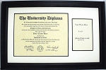 University Diploma Certificate Frame 8-1/2 x 11 with 4x6 photo opening Black Frame