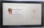 Graduation Diploma University College Certificate 8-1/2x11 with 5x7 Photo White Mats Black Frame