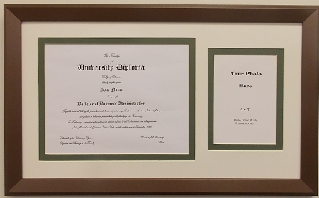 with photo openings certificate 85x11 university diploma certificate frame 8 12 x 11 with 5x7 photo opening creme and green mat bornze frame