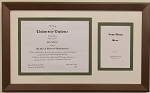 University Diploma Certificate Frame 8-1/2 x 11 with 5x7 photo opening creme and green mat bornze frame