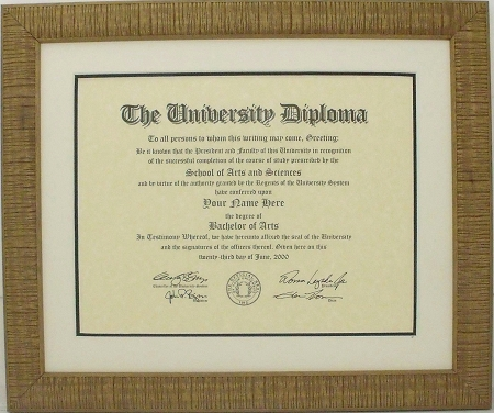 Graduation Diploma University Certificate 8-1/2 x 11 Matted light ...